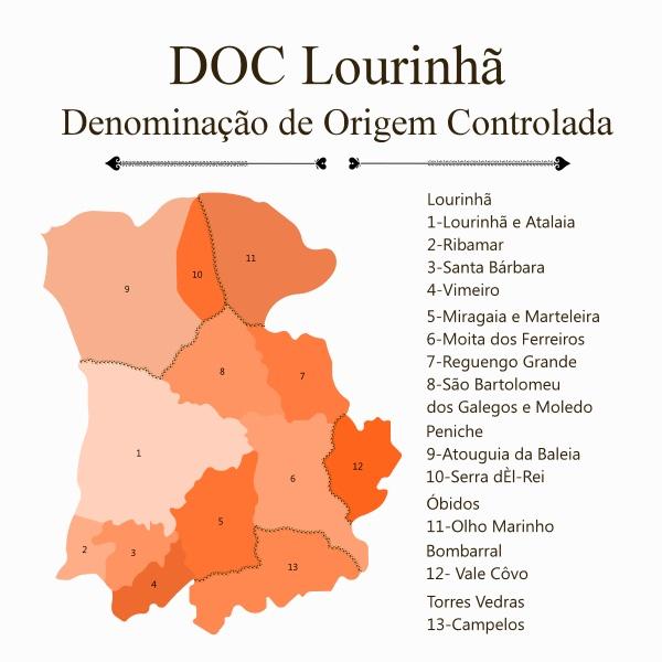 Mapa da demarcação da Denominação de Origem Lourinhã