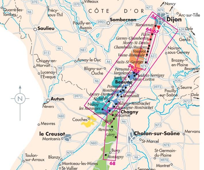 Mapa da Cote d'Ôr