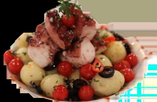Salada quente de polvo_burned