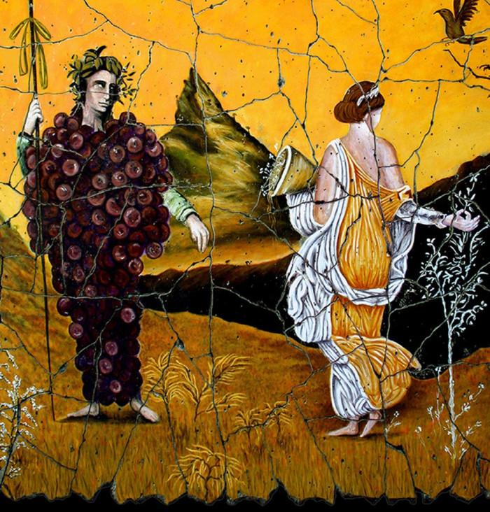 Baco e Flora, num painel de achado arqueológico