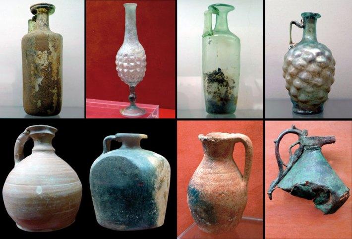 Diversos recipientes para vinho romanos