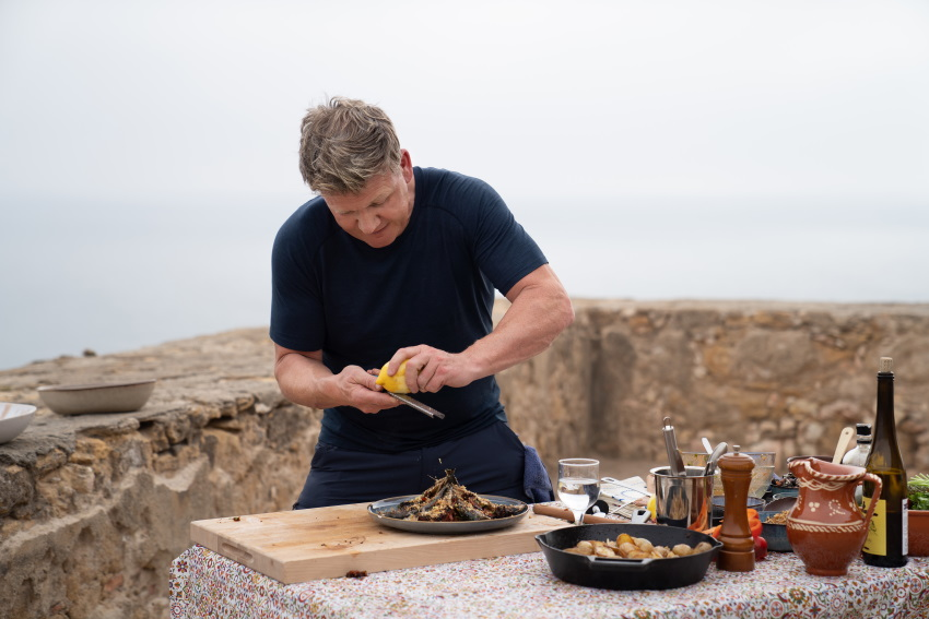 Portugal - Gordon Ramsay plates his sardine dish during the final cook in Portugal. (Credit: National Geographic/Justin Mandel)