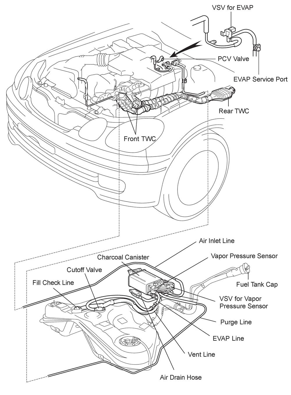 2000 lexus gs300 evap parts layout