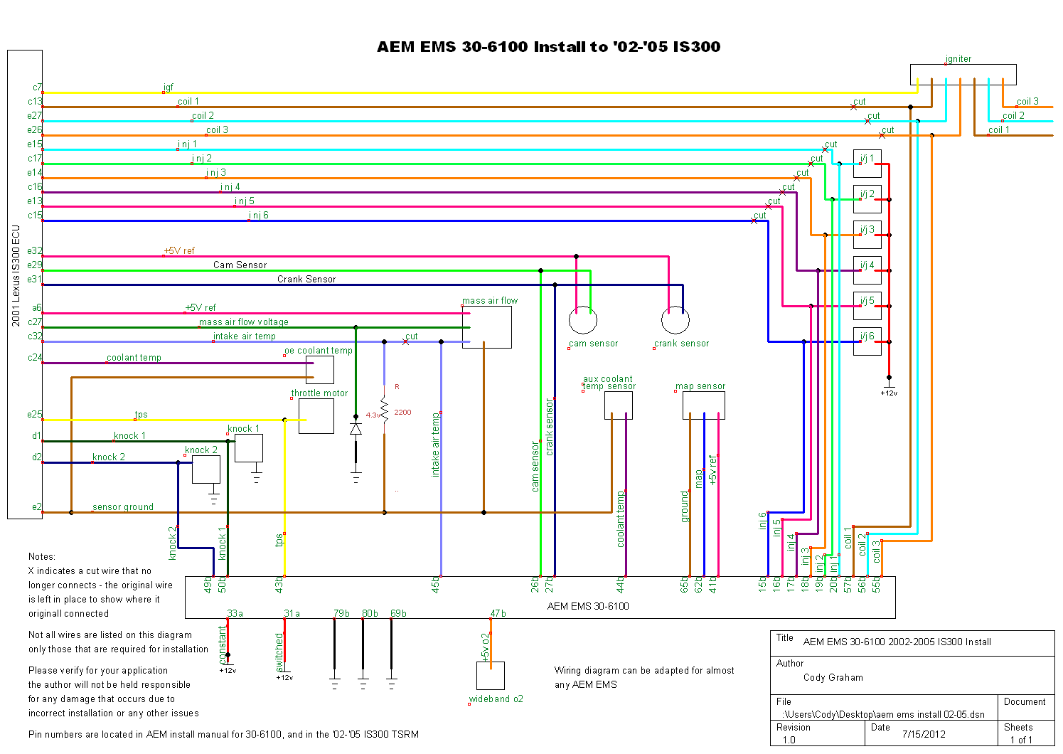 O2 Sensor Wiring Diagram Is The Stock That Is300 Todays Engine Library Aem Fic Wire Harness