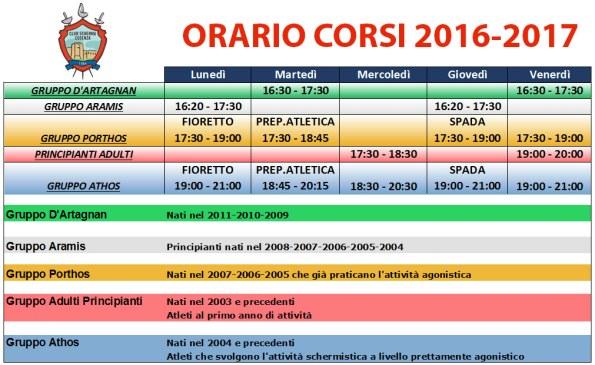 Orario Club Scherma Cosenza 2016-2017