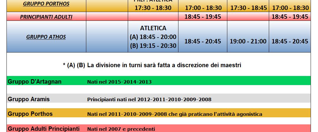 Club Scherma Cosenza - orario 2020-2021