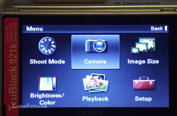 Sony NEX-C3: Meniul