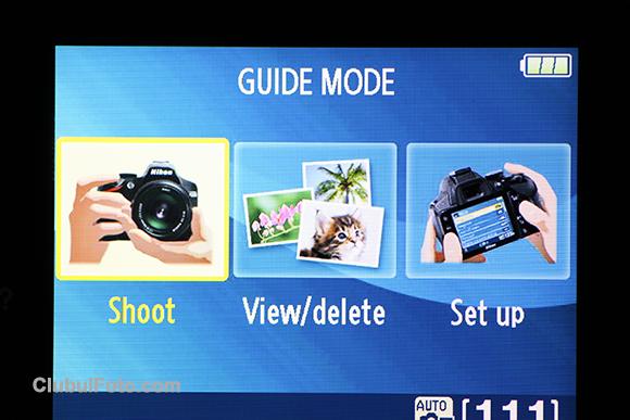 Ecranul principal al modului Ghid la Nikon D3200