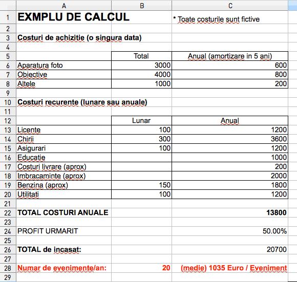 Exemplu de calcul TEORETIC