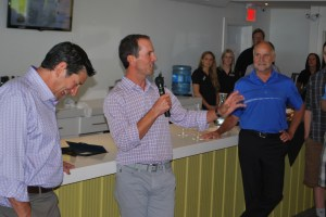 Mike Weir addresses the gathering at the official opening of Mike Weir Winery in Beamsville, June 21, with winery president Barry Katzman, left and Lincoln Mayor Bill Hodgson.