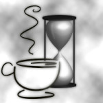 Coffee cup and hourglass