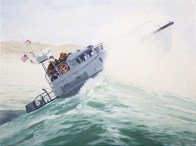 motor boat cresting a large wave