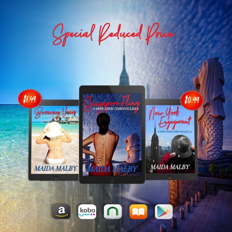 Image showing covers of Boracay Vows, Singapore Fling and New York Engagement on separate tablet devices, indicating price of Boraay Vows is $1.99 an New York Engagement is $0.99