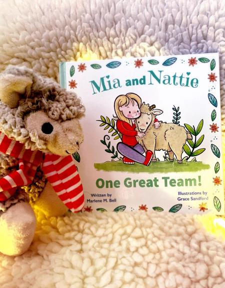 Photo of Mia and Nattie book propped up on a fluffy blanket, with a teddy bear sitting next to it.