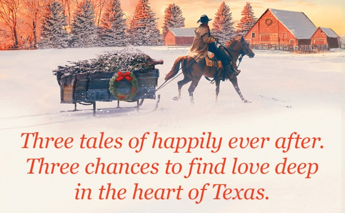 Notable quotable: Three tales of happily ever after. Three chances to find love deep in the heart of Texas.