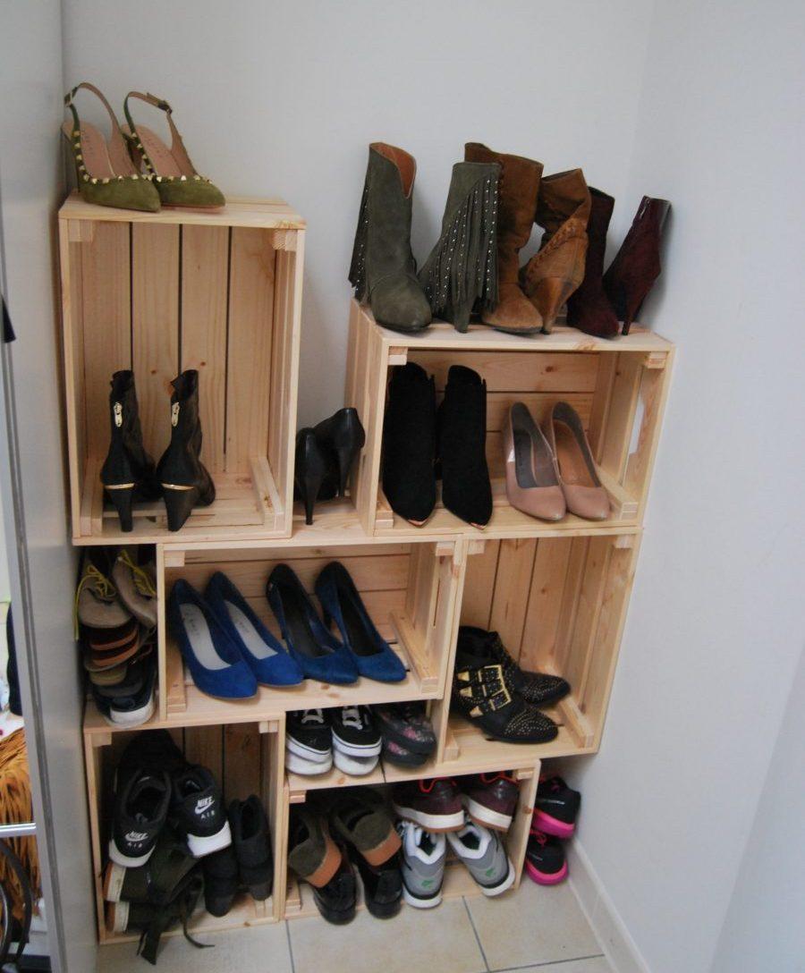 zelfgemaakte schoenenrek