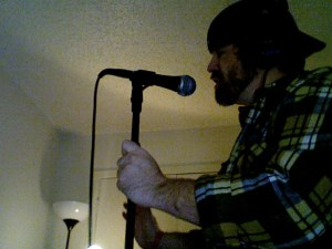"Recording vocals for ""The Ghost"""