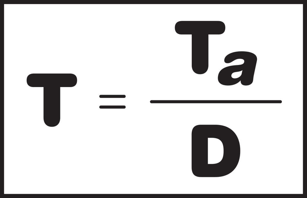 The formula for takt time is T = Ta divided by D. Takt time is a powerful metric that can inform a Lean operations.