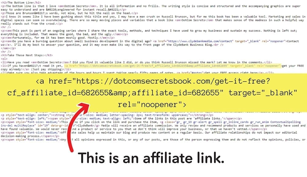 An affiliate link is a link that includes tracking information in the form of a line of code. This code is how affiliates get paid - purchases made through this link earn affiliates commissions from partners.