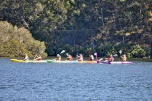 Paddling for breast cancer at the Nelligen Girls Day Out