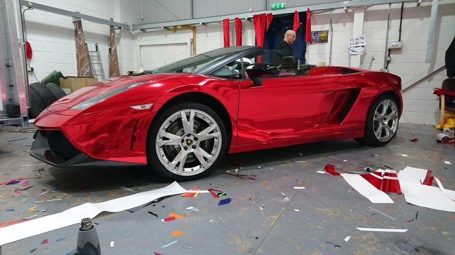 chrome red lamborghini wrap