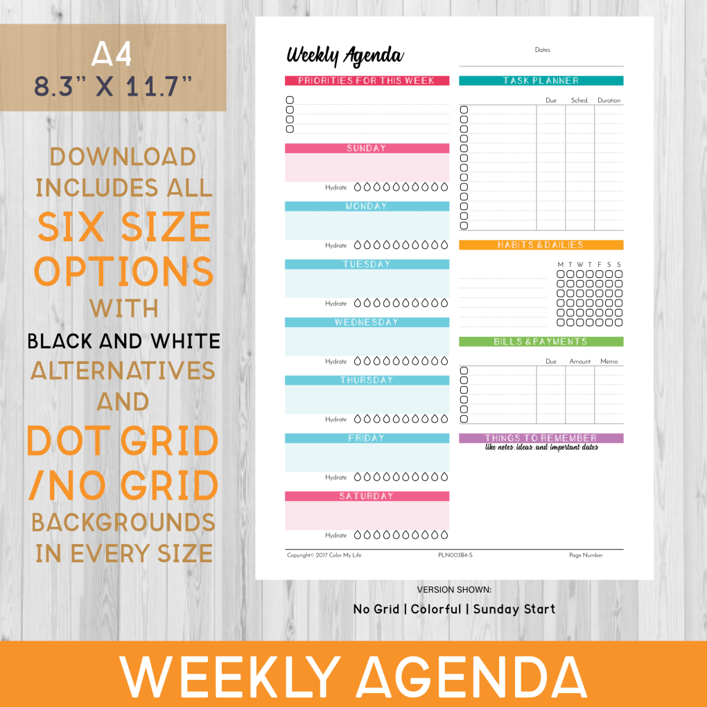 Plan your entire week with this colorful, undated digital weekly agenda. Each download comes with *48 UNIQUE OPTIONS* including *6 POPULAR SIZES* so you can continue to use these pages even if you decide to change your planner.