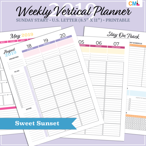 2019 Weekly Vertical Planner - US Letter - Sweet Sunset - Sunday Start