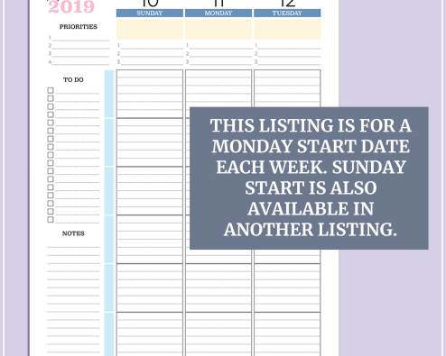 2019 Weekly Vertical Planner - US Letter - Sweet Sunset - Monday Start