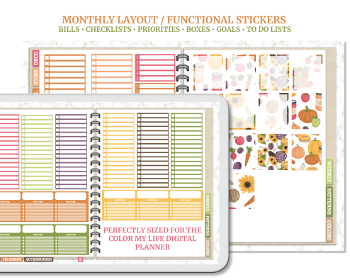 Give in to the autumn vibes with this huge digital sticker set! Decorate your digital planner, bullet journal, or notebook with this massive set of over 1,350 precropped, transparent PNG fall- themed stickers. Plus, save a ton of time with the included Goodnotes sticker book! Get it at cmlplanner.com.