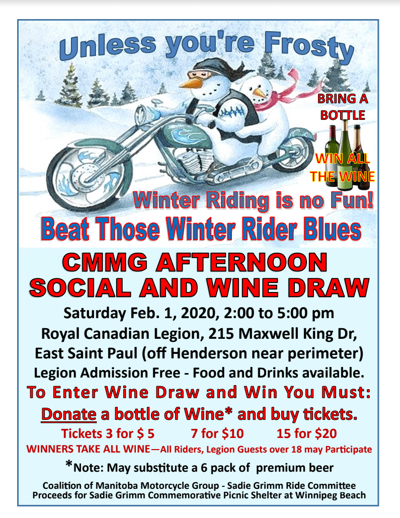 COME TO THE CMMG Saturday AFTERNOON SOCIAL AND WINE DRAW.