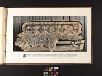Glass casket from Bib# 45886 - DeCamp Consolidated Glass Casket Co., Muskogee, OK, USA.