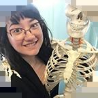 Chalsey Artist hugging skeleton