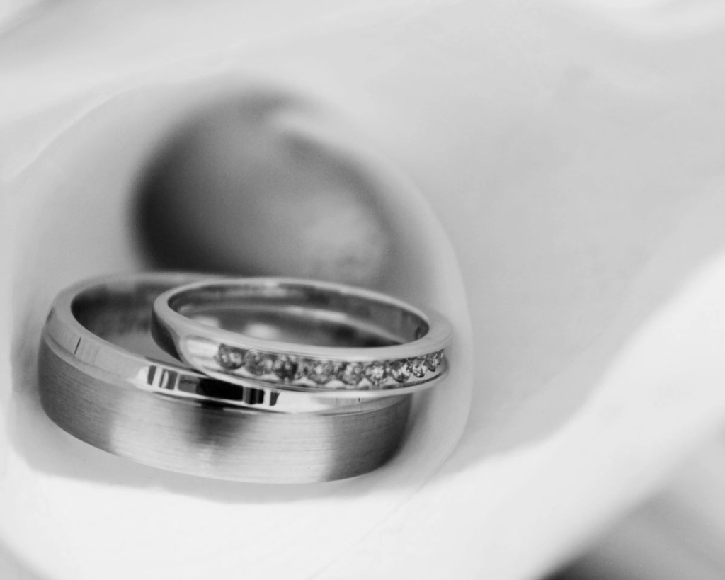 Silver wedding rings in beautiful lily flower
