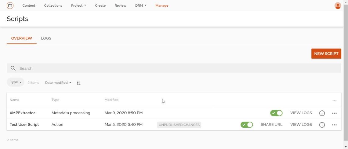 Sitecore Content Hub Script View Page
