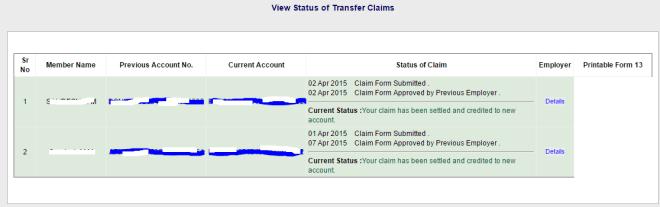 Online PF Transfer process