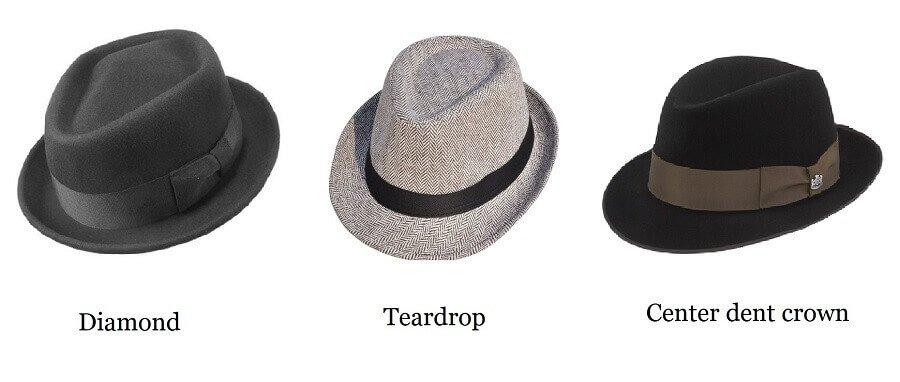 Fedora hat crown types