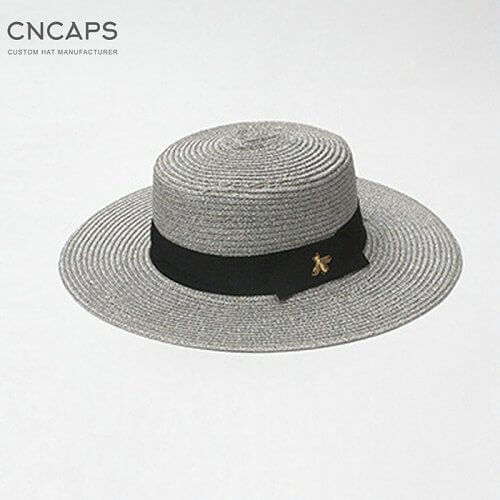 Straw hat gold metal bee