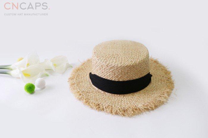 78b0c36d4 Lady raffia straw hat raw edge vintage trendy design leisure style ...