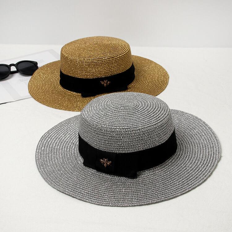d0f562f66cb84 Metallic Glitter Straw Hat Retro Braided Wide Brim Gold Sliver Flat Top  Metal Bee Anti-UV