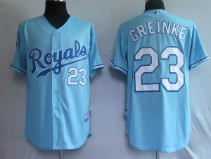 Discount Kansas City Royals 23 Greinke Blue MLB jerseys