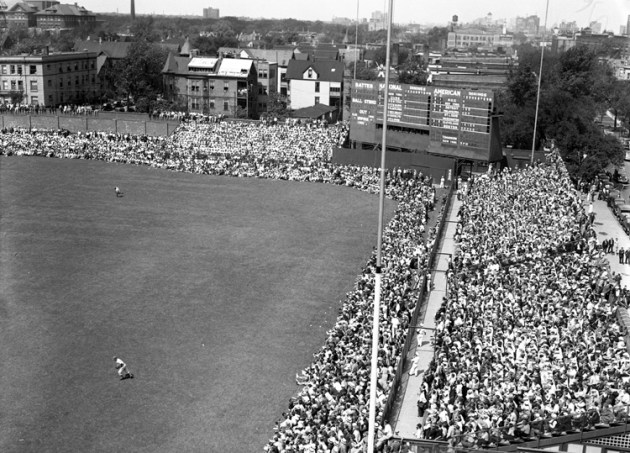 A photo of Wrigley Field outfield on Aug. 30, 1936.