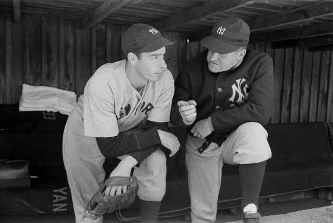 Joe DiMaggio and Yankees manager Joe McCarthy