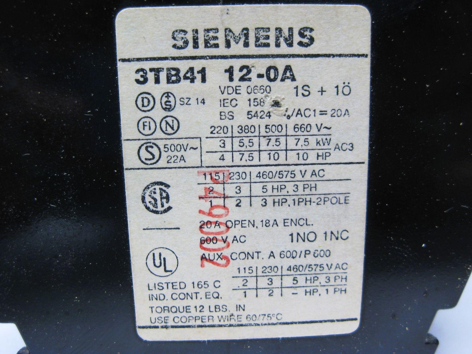 Assortment of Siemens Contactors