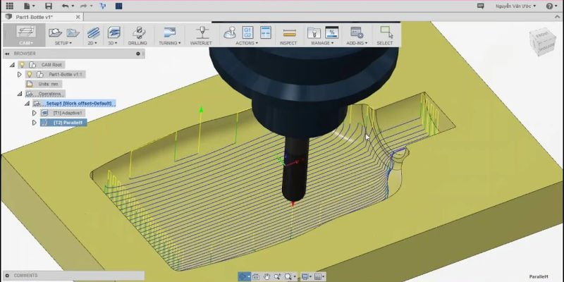 CNC design toolpaths in software