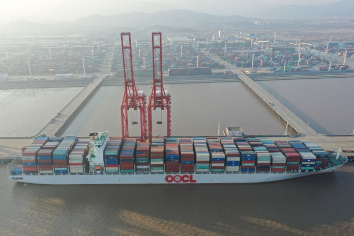 A cargo ship at Meidong Container Terminal at Ningbo Zhoushan Port in China