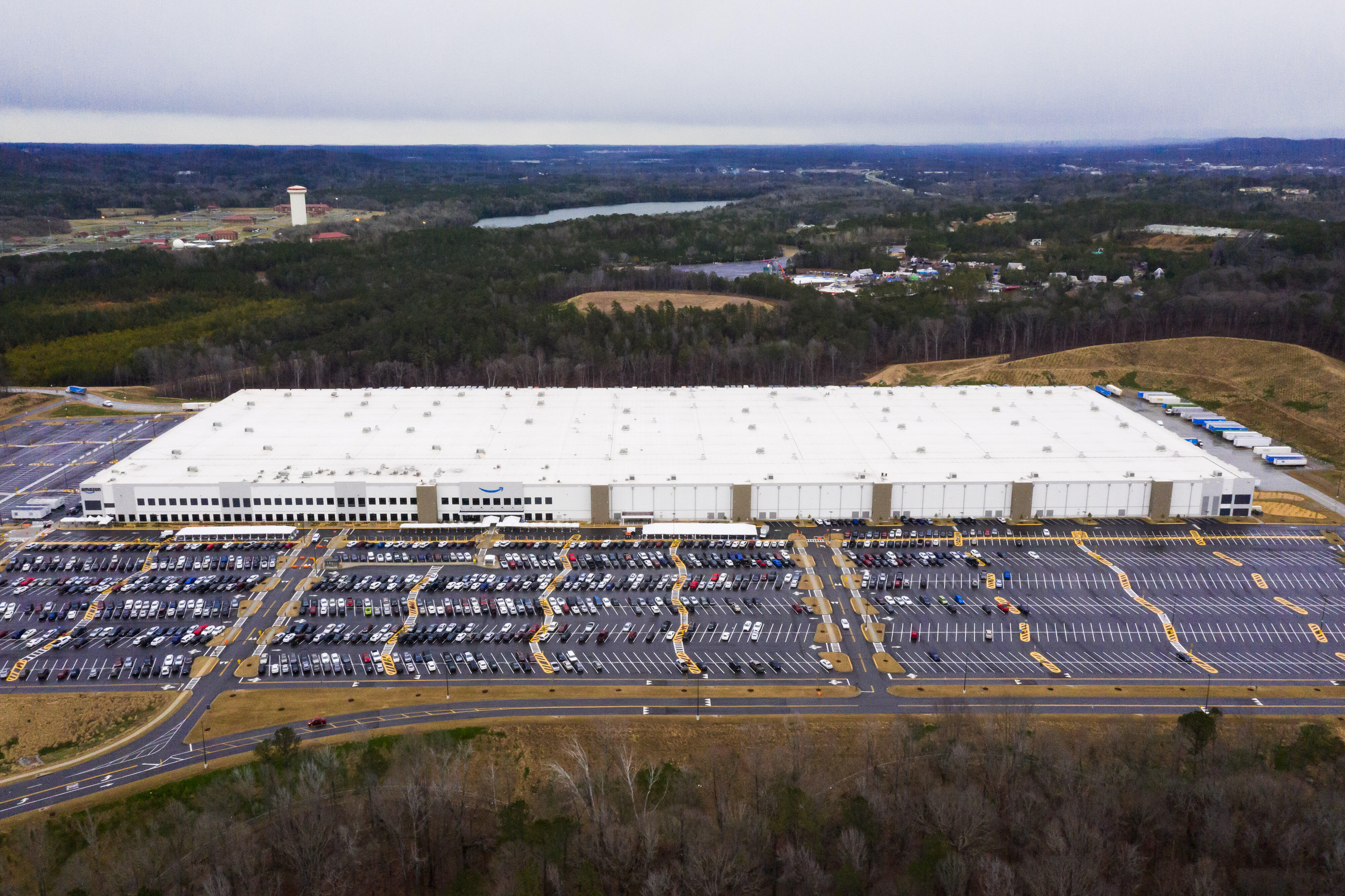 Aerial view of the Amazon warehouse in Bessemer, Alabama