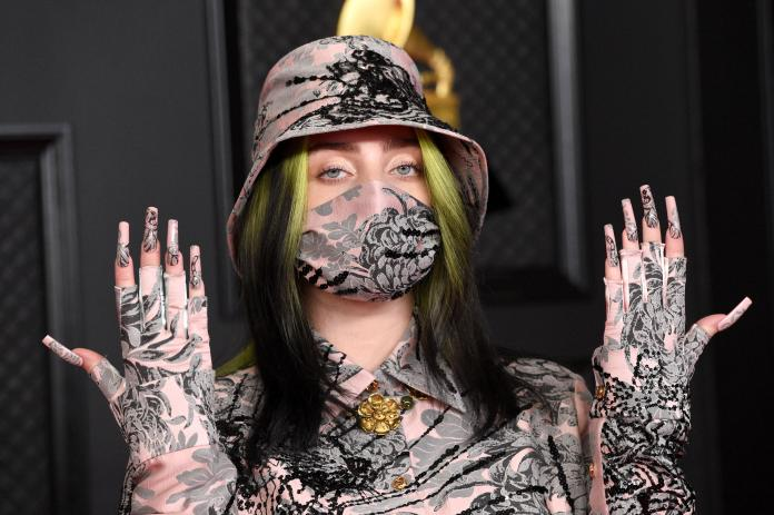 Billie Eilish poses at the 2021 Grammy's