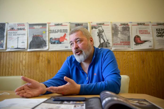 Dmitry Muratov, editor-in-chief of Russian investigative newspaper Novaya Gazeta, takes part in an interview with AFP in Moscow on March 24, 2021