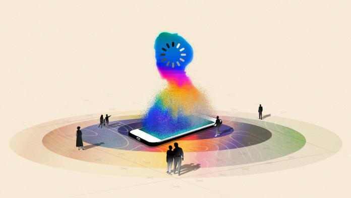 Illustrations showing a smartphone and people gathered around it