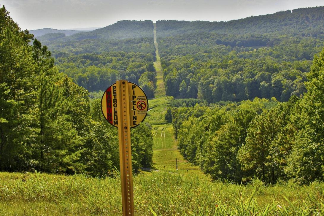 A fuel pipeline right-of-way, like a wide, grassy path, stretches into the distance, through a forest. A yellow sign in the foreground alerts people to the presence of the petroleum pipeline.